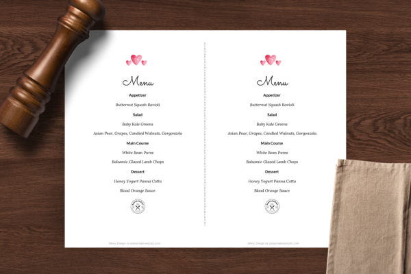 Valentine's Day Menu - Easy to customize restaurant menu template - ASBA Creative Studio