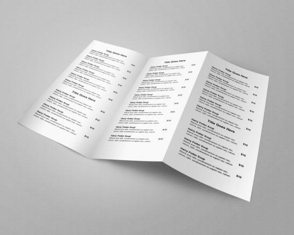 Easy to customize trifold restaurant menu template - ASBA Creative Studio
