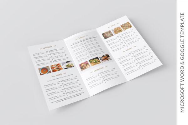 restaurant to go menu template - trifold