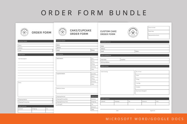 Cake order form template